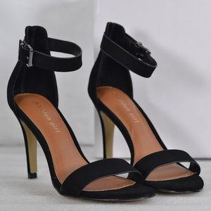 Madden Girl Suede Bay Black Ankle Strap Stilettos